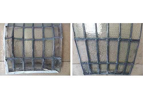 Imatge parcial d'un plafó de la claraboia de l'edifici Transmediterrània en procés de restauració